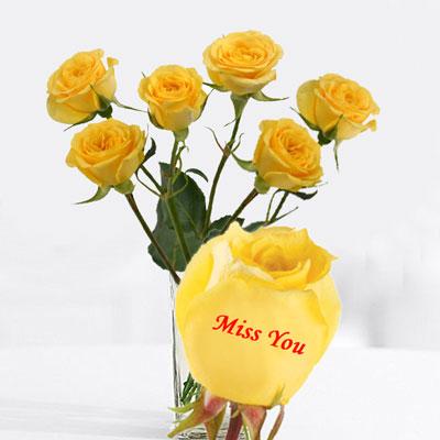 Talking Roses Print On Rose 6 Yellow Rose Miss You Send Talking Roses To India Hyderabad Us2guntur
