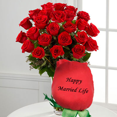 Talking Roses Print On Rose 25 Red Roses Happy Married Life
