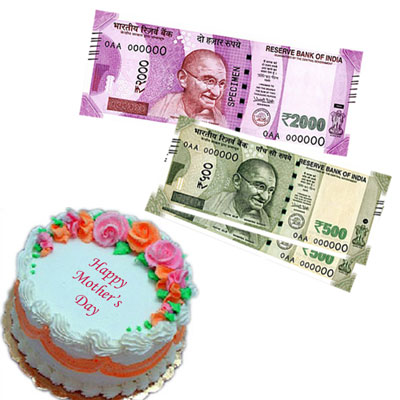 Cash - Rs  3,001 with 1 kg cake - send CASH POWER to MOM to