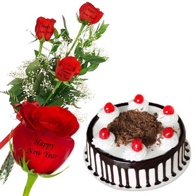 talking roses print on rose 3 red roses happy new year cake send new year talking roses to india hyderabad us2guntur
