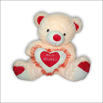 Cream Teddy - Best Wishes on Heart - BGB 149 - Click here to View more details about this Product