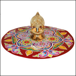 Rangoli Sticker with Kamakshi Brass Diya - Click here to View more details about this Product