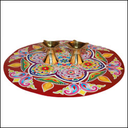 Rangoli Sticker with 2 Brass Diyas - Click here to View more details about this Product