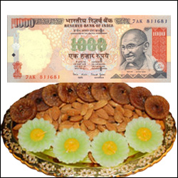 Cash - Rs. 1000 + Dryfruit Thali - Click here to View more details about this Product
