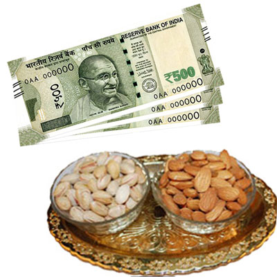 Cash - Rs. 1500 + Pista Badam Bowls Tray - Click here to View more details about this Product