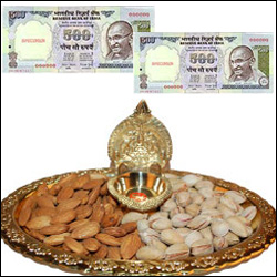 Cash - Rs. 1000 + Badam Pista with Kamakshi Diya (Brass) Thali - Click here to View more details about this Product