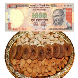 Cash Rs. 1000 + Pista Anjeer and Badam Thali - Click here to View more details about this Product