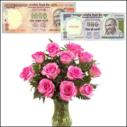 Cash Rs. 1500 + Roses with Vase - Click here to View more details about this Product