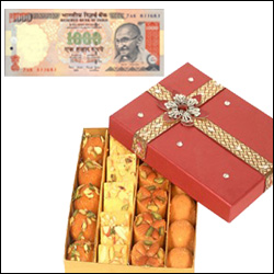 Cash Rs. 1000 + 500gms of assorted sweets - Click here to View more details about this Product