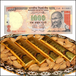 Cash Rs. 1000 + Fancy Choco Thali - Click here to View more details about this Product