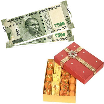 Cash - Rs. 1001 + 500gms of Assorted sweets - Click here to View more details about this Product