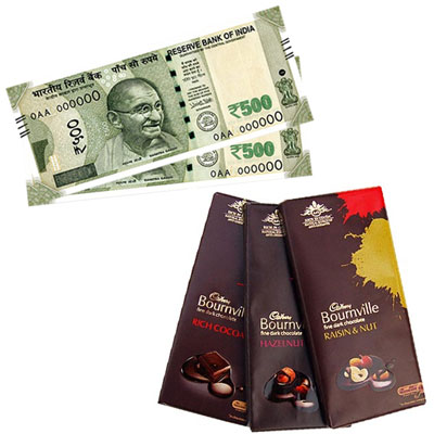 Cash Rs. 1001 + Cadburys Bourneville chocolate - 3 bars - Click here to View more details about this Product