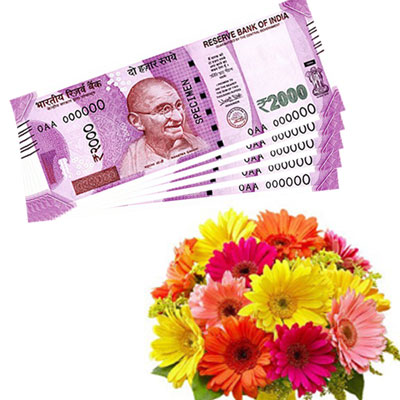 Cash - Rs. 10,001 with flowers - Click here to View more details about this Product