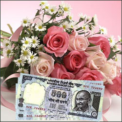 Cash - Rs. 3,001 with  Mixed flowers - Click here to View more details about this Product