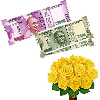 Cash - Rs. 3,001 with  Yellow flowers - Click here to View more details about this Product