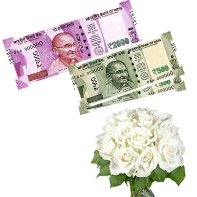 Cash - Rs. 3,001 with  white flowers - Click here to View more details about this Product