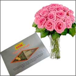 Sugar free Sweets + 12 pink roses - Click here to View more details about this Product