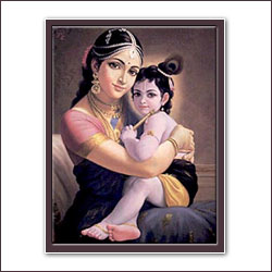 Yashoda Krishna Glow Paint portrait -  Size (15x12 Inches) - Click here to View more details about this Product