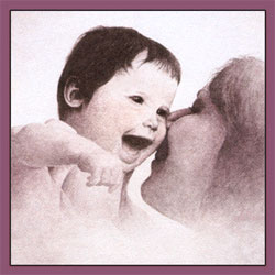 Mother and Her  Child watercolour painting - Click here to View more details about this Product