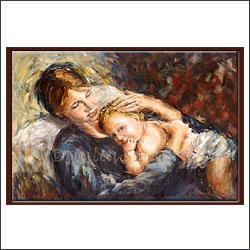 Mother & child portrait Oil Painting - Click here to View more details about this Product