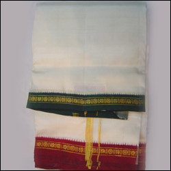 Pattu Dhoti with Kanduva Mama Alludu Border - Click here to View more details about this Product