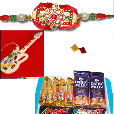 Guitar 10 songs+ Choco Thali(CT506)+Rakhi - FR-708 - Click here to View more details about this Product