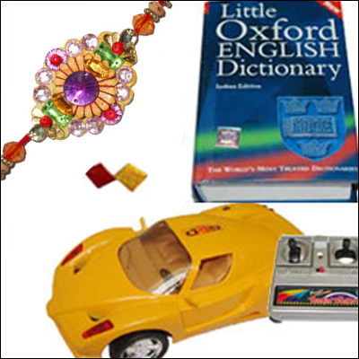 Fancy Rakhi with Super Sports Car N Dictionary - Click here to View more details about this Product