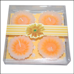 Floral Design Floating Candles - 4 pieces (Orange) - Click here to View more details about this Product