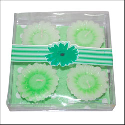 Floral Design Floating Candles - 4 pieces (Green) - Click here to View more details about this Product