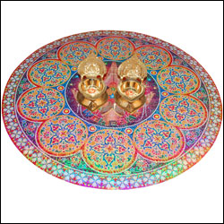 Rangoli Sticker , 2 Kamakshi Diyas(Brass Material) - Click here to View more details about this Product
