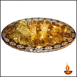 Diwali Gold Coin Chocolates Thali - Click here to View more details about this Product