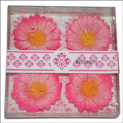 Floral Design Floating Candles - 4 pieces (Pink Color) - Click here to View more details about this Product
