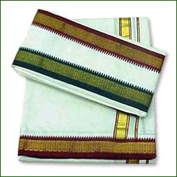 Khadi Dhothi with Coloured border - Click here to View more details about this Product