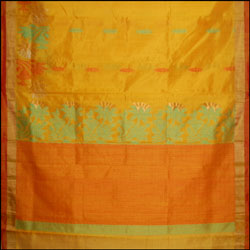 Exclusive Kollam pattu Mustard color saree (With Blouse ) SLU-33 - Click here to View more details about this Product