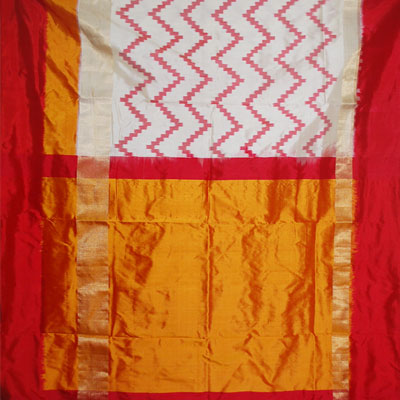 Comes With Pochampally Design In Middle Of The Saree Along Red And Mustard Color Plain Border Zari Pallu Gives A Beautiful Look