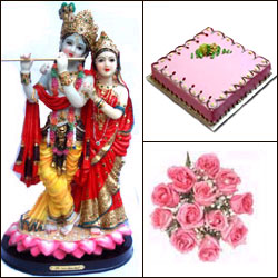 Cake n Radhakrisha Idol - Click here to View more details about this Product
