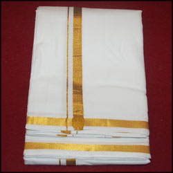 Pure100% Premium Cotton Dhoti with zaree border-Kadambari - Click here to View more details about this Product