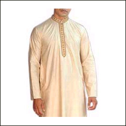 Off-White Silk Kurta Pyjama - Click here to View more details about this Product