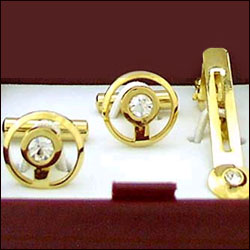 Cufflinks Set & Tie Pin (Gold Plated) - Click here to View more details about this Product