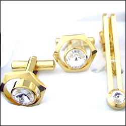 Cufflinks Set & Tie Pin (Rhodium Plated ) - Click here to View more details about this Product