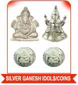 SILVER GANESH IDOLS & COINS